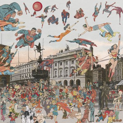 London: Piccadilly Circus -The Convention of Comic Book Char...