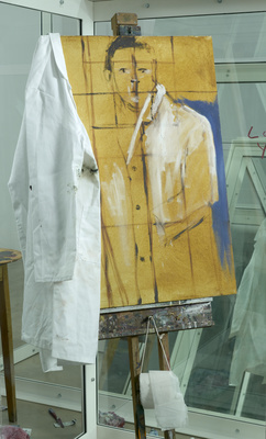 Contemplating a Self Portrait as a Pharmacist, 1998 (detail) By Damien Hirst