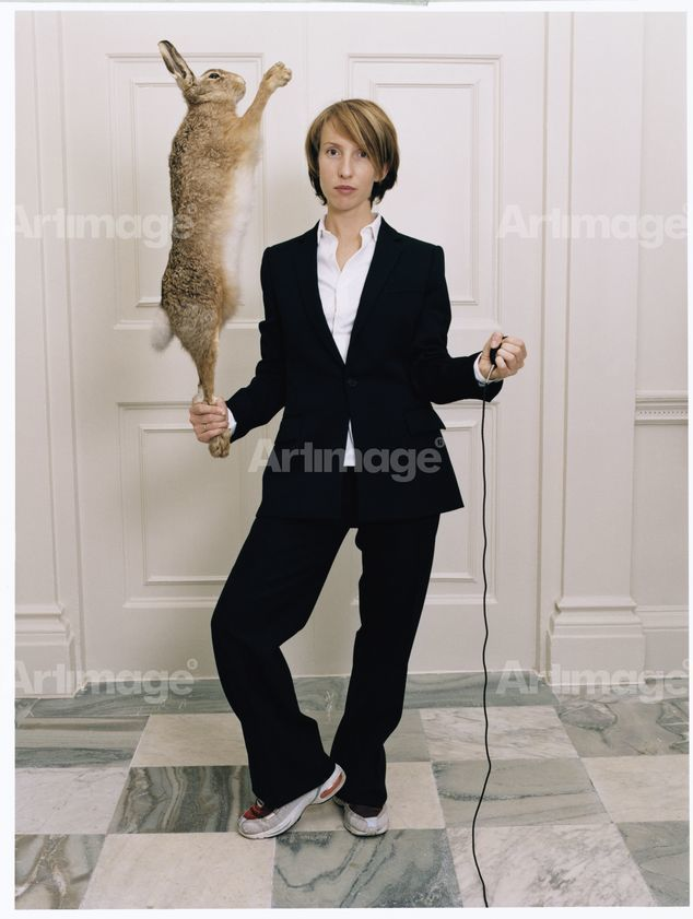 Self Portrait in a Single Breasted Suit with Hare, 2001
