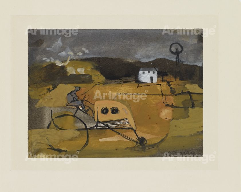 Landscape with Tractor, 1945