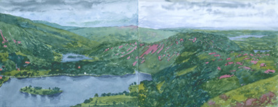 Grassmere with Rydal Water and Windermere from Silver Howe, ... By Adrian Berg