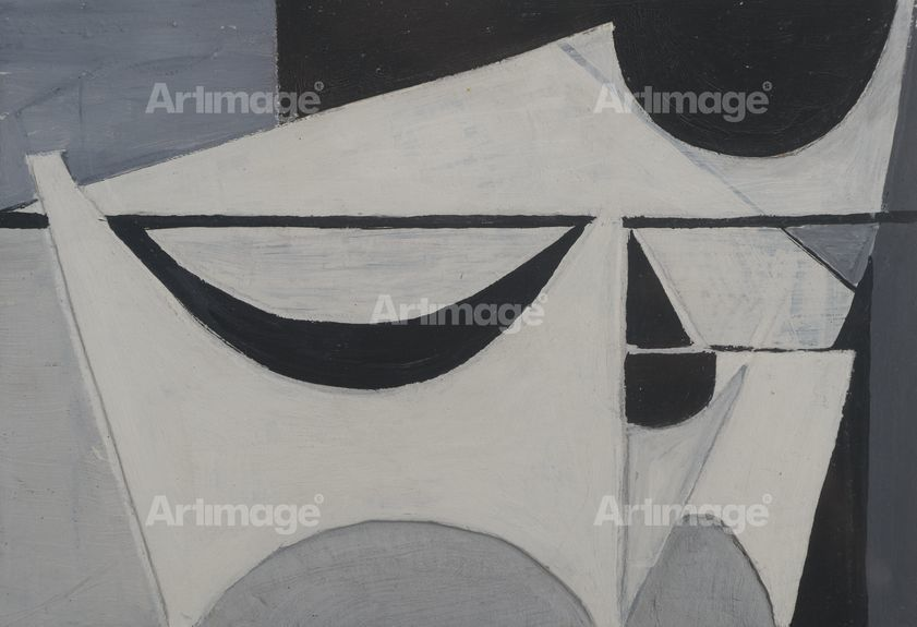 Enlarged version of White Relief on Black and Grey, 1954