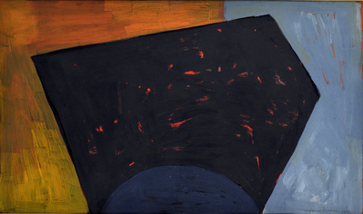 Black Form on Orange and Blue, 1953 By Wilhelmina Barns-Graham