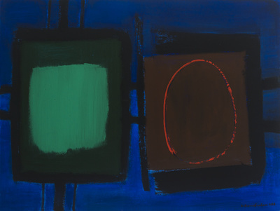 Connected Forms 2 (On Blue, Emerald and Red Circle on Brown)... By Wilhelmina Barns-Graham