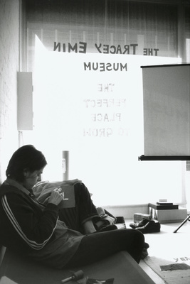 Tracey Emin working in Tracey Emin Museum, 1997