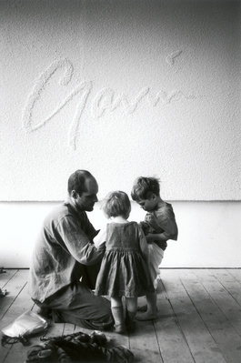 Gavin Turk with children Frances and Curtis, Studio, London,... By Johnnie Shand Kydd