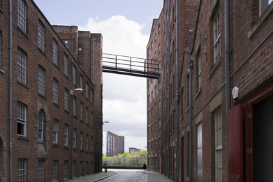 Footbridge between mills, Ancoats, Manchester, 2013