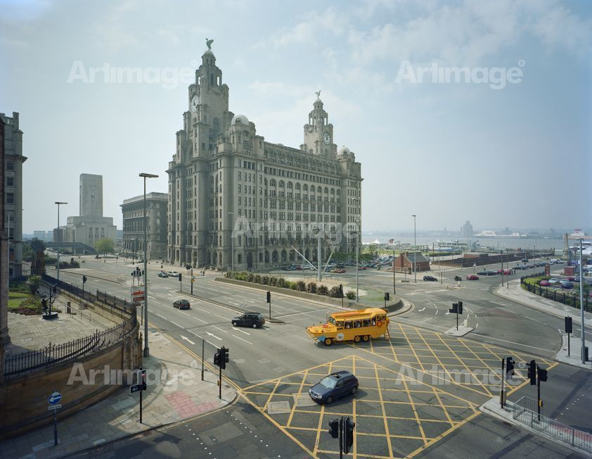 Enlarged version of Blitz Memorial and Liver Building, Liverpool, 2003