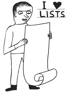 Untitled (I love lists), 2014 By David Shrigley
