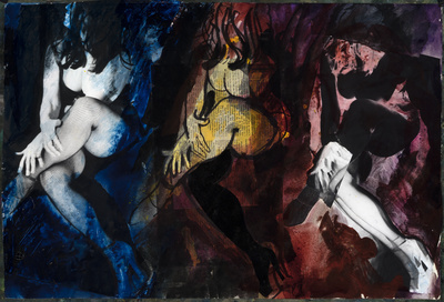 Nude Triptych, Blue, Yellow and Red Collage, 1972