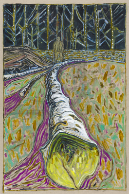 felled birch tree, 2015 By Billy Childish