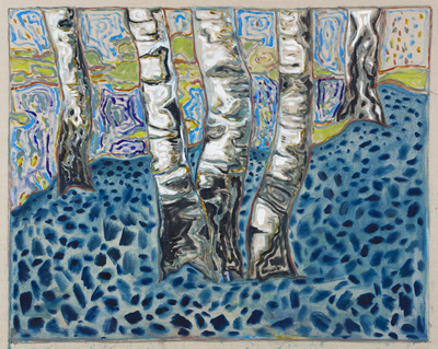 island birches, 2016 By Billy Childish