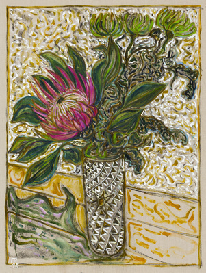 protea flower with chrysanthemums, 2015