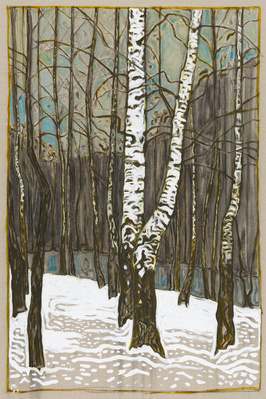 birch trees winter, 2015 By Billy Childish