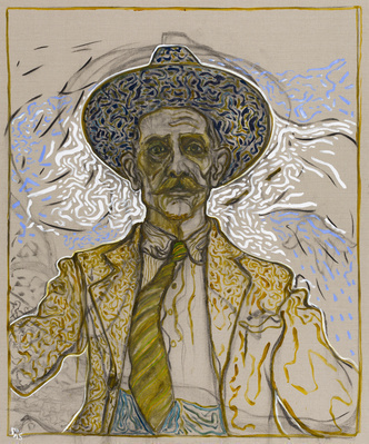 self portrate with tie, 2015 By Billy Childish
