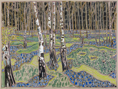 birches with bluebells, 2016 By Billy Childish