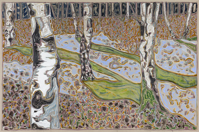 birches with green shadows, 2016 By Billy Childish