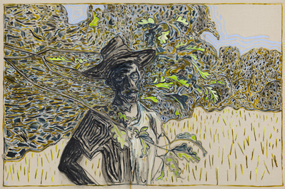 man amongst oak leafs, 2015 By Billy Childish