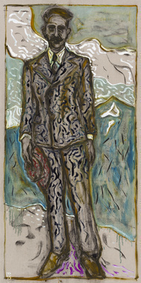 man holding hat, 2015 By Billy Childish
