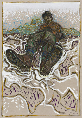 man in nailed boots, 2015 By Billy Childish