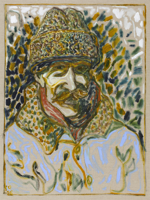 in astrakhan hat, 2016 By Billy Childish