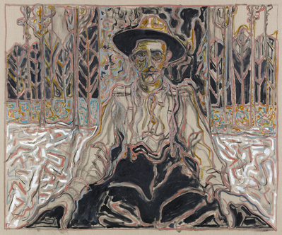 man sat against tree, 2016 By Billy Childish