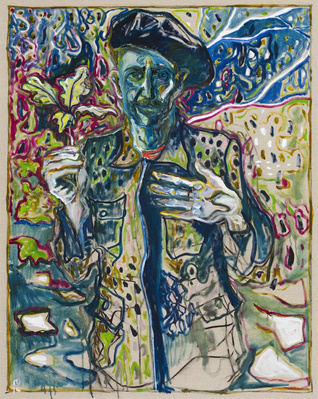 man with oak sprig, 2014 By Billy Childish