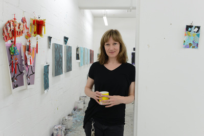 Fiona Rae, studio, London, 2013