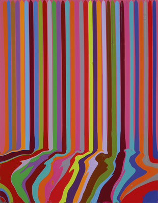 Puddle Painting: Magenta, 2008 By Ian Davenport