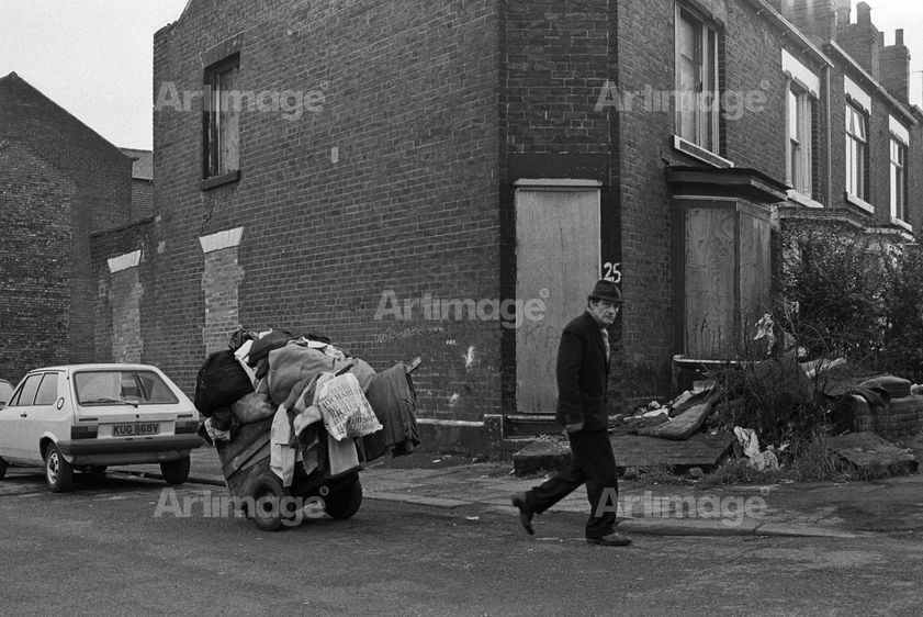 Enlarged version of Scrap collector, Sheffield, March 1981