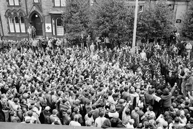 Miners at a meeting outside the Yorkshire Area NUM Office du... By Martin Jenkinson