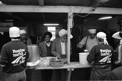 Evening meal at the Sikh Temple in Southall, People's March ...