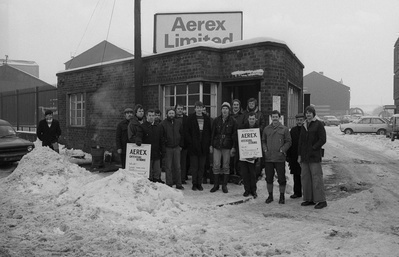Aerex strikers picket during their strike against redundanci...