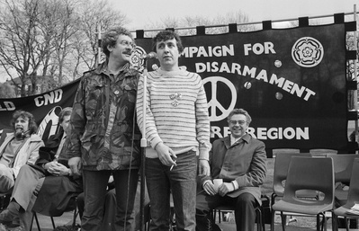 Comedians Bobby Knutt & Tony Capstick at CND rally, Sheffiel... By Martin Jenkinson