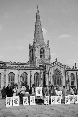 Anti Aparthied Movement vigil outside Sheffield Cathedral in...