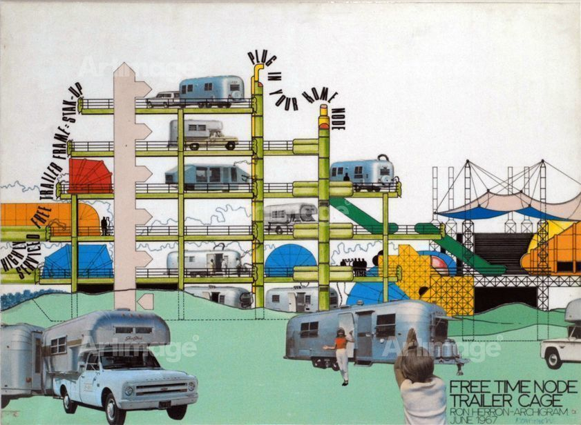 Enlarged version of Free Time Node Trailer Cage by Ron Herron Archigram, June 1967