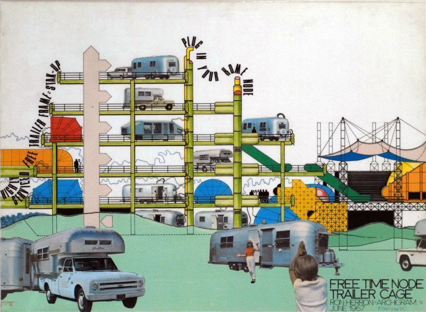 Free Time Node Trailer Cage by Ron Herron Archigram, June 1967