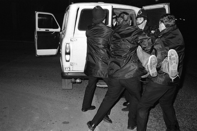 Police arrest a picket during a one day strike at British St...