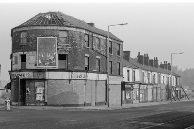 Boarded up shops on Attercliffe Road, Sheffield, September 1...