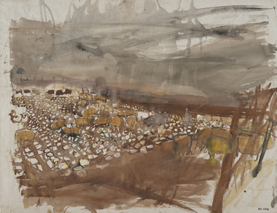 Sheep Feeding in a Field of Turnips, [Date unknown] By Joan Eardley