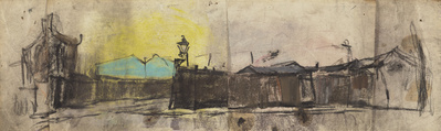 Yellow Sky and Gas Lamps, [Date unknown] By Joan Eardley