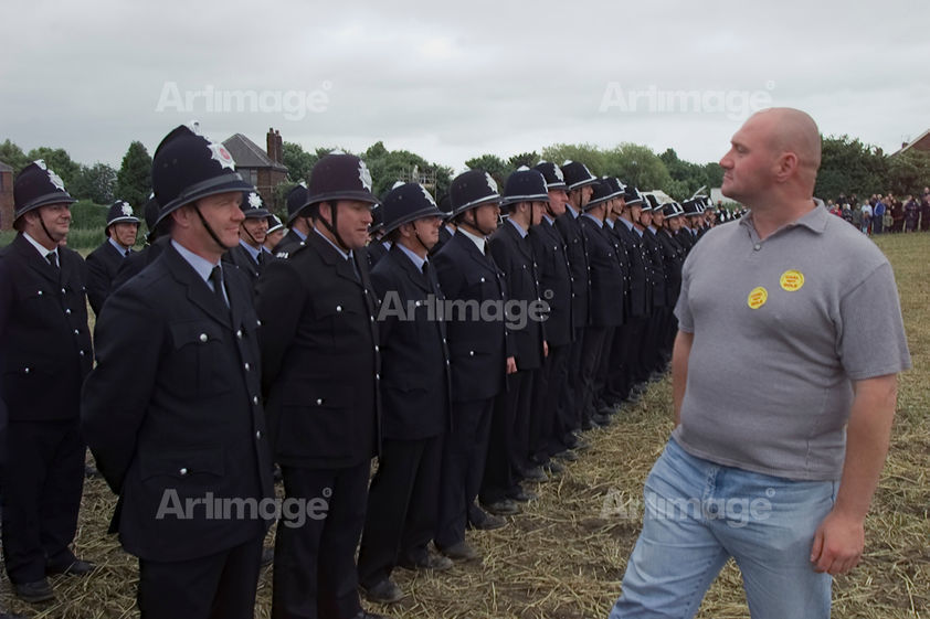 Enlarged version of Jeremy Deller's re-enactment of the Battle of Orgreave, 17 June 2001