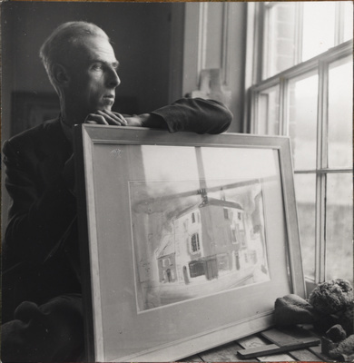 John Piper at Fawley Bottom in the old studio, c.1935