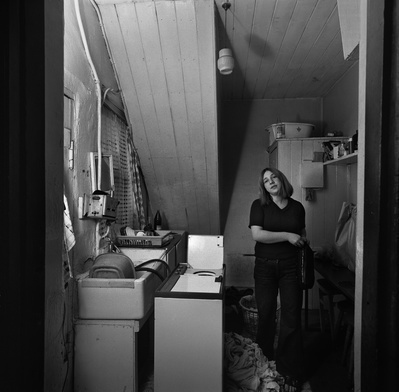 Mrs Pauline Scott in her scullery, Byker, 1975