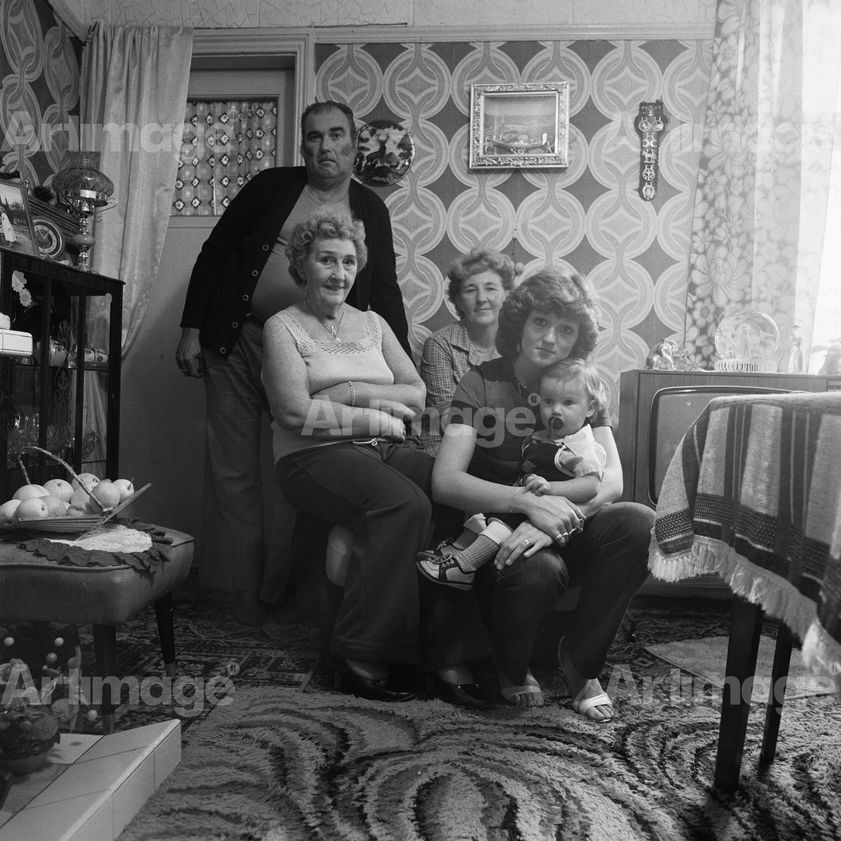 Enlarged version of Four generations of a Byker family (Ken Palmer, Gertrud Sinton, Elsie Palmer, Yvonne and Gavin Harris), Byker, 1980