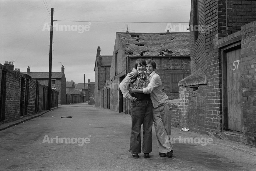 Enlarged version of A backlane embrace, Byker, 1975