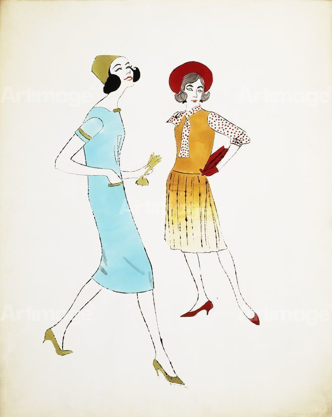 Enlarged version of Two Female Fashion Figures, c.1960