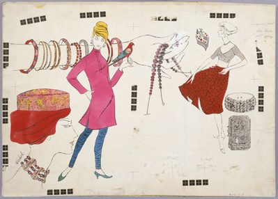 Three Female Figures and Fashion, c.1960 By Andy Warhol