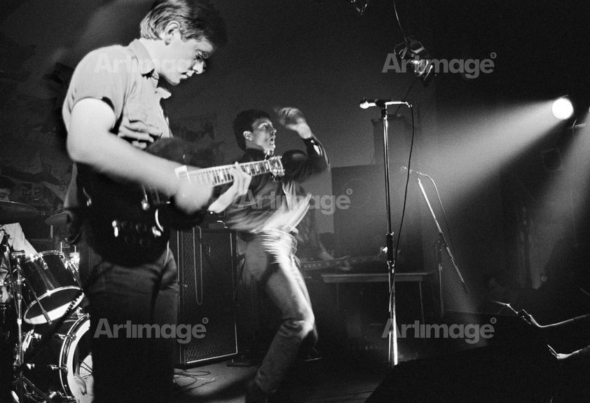 Enlarged version of Factory Records: Joy Division on stage at Osbourne Club 'Factory' gig, Miles Platting, Manchester, 1980