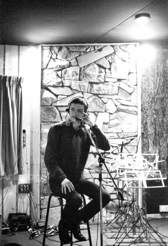 Enlarged version of Factory Records: Ian Curtis of Joy Division, Pennine Sound Studio, Oldham, 1980